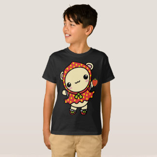 Strawberry Red Wub Bear Cute Ears Kids T-Shirt