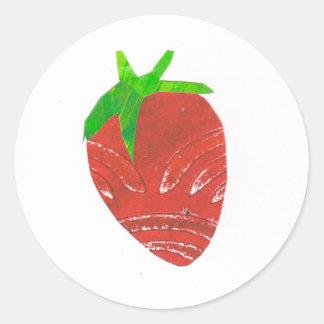 Strawberry Round Sticker, Glossy Round Sticker