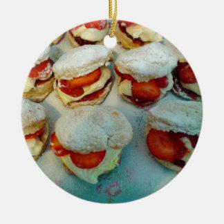 Strawberry Scones/Cakes Round Ceramic Decoration