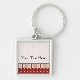 Strawberry Seeds Pattern With Border Silver-Colored Square Key Ring