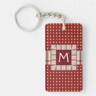 Strawberry Seeds Pattern With Initial Double-Sided Rectangular Acrylic Key Ring