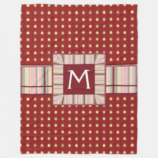 Strawberry Seeds Pattern With Initial Fleece Blanket