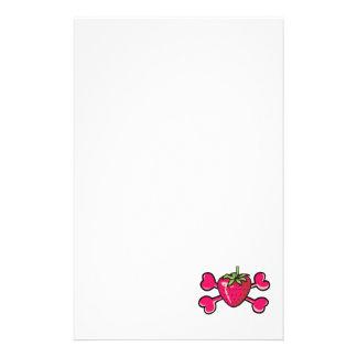 strawberry Skull pink Crossbones Customized Stationery