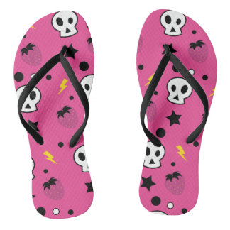 strawberry skulls! flip flops