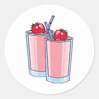 strawberry smoothie round stickers