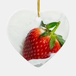 Strawberry Splash Ceramic Heart Decoration