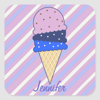 Strawberry Stripes Ice Cream Stickers