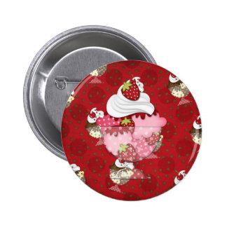 strawberry sundae pinback button