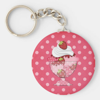 strawberry sundae basic round button key ring