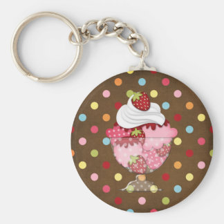 strawberry sundae key chain