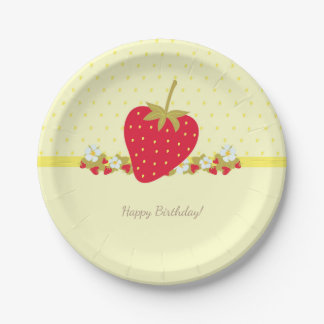 Strawberry Sweet baby First Birthday Party Paper Plate