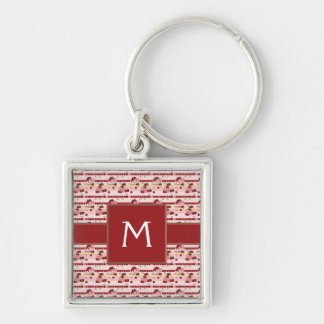 Strawberry Sweet Treats Pattern With Initial Silver-Colored Square Key Ring