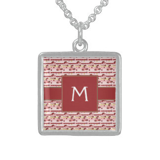 Strawberry Sweet Treats Pattern With Initial Sterling Silver Necklace