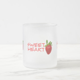 Strawberry Sweetheart Frosted Glass Coffee Mug