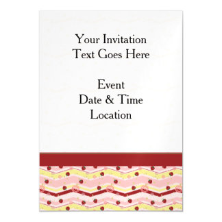 Strawberry Swirl Chevron Pattern With Border Magnetic Card