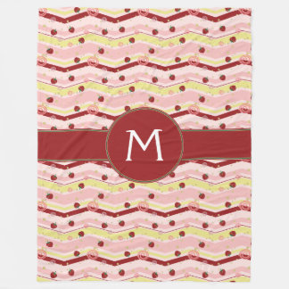 Strawberry Swirl Chevron Pattern With Initial Fleece Blanket
