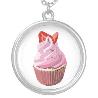 Strawberry swirl cupcake necklace