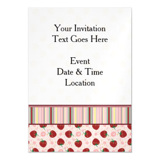 Strawberry Swirl Pattern With Border Magnetic Invitations