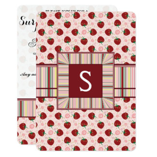 Strawberry Swirl Pattern With Initial Card