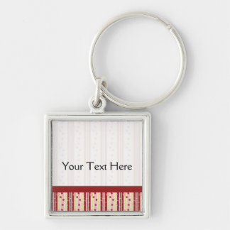 Strawberry Swirl Stripes Pattern With Border Silver-Colored Square Key Ring
