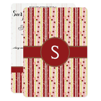 Strawberry Swirl Stripes Pattern With Initial Card