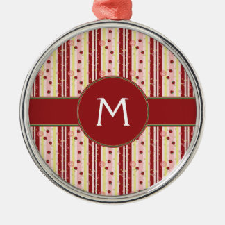 Strawberry Swirl Stripes Pattern With Initial Christmas Ornament