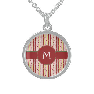 Strawberry Swirl Stripes Pattern With Initial Sterling Silver Necklace