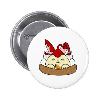 Strawberry Syrup Vanilla Hopdrop Waffle Sundae Pinback Buttons