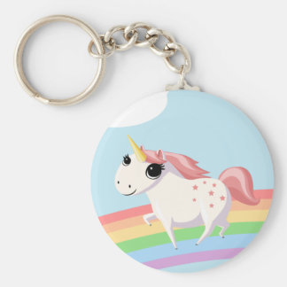 Strawberry the Unicorn Basic Round Button Key Ring