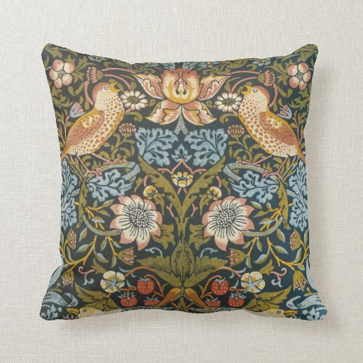 Strawberry Thieves by William Morris, Vintage Art Throw Pillows