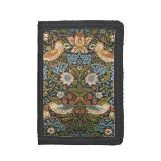 Strawberry Thieves by William Morris, Vintage Art Trifold Wallets