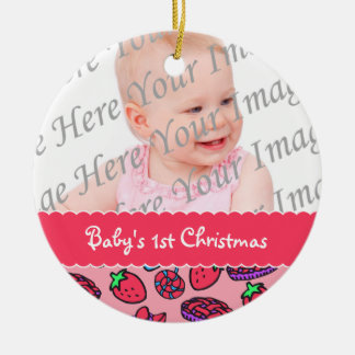 Strawberry Treats Babys 1st Christmas Personalized Christmas Ornament