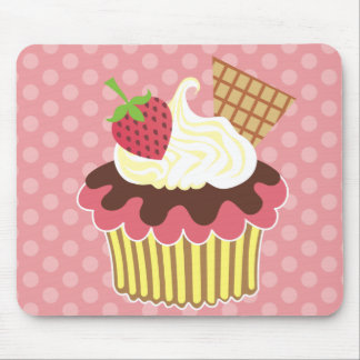 Strawberry & Whipped Cream Cupcake Mouse Pad