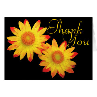 Strawflowers Colorful Photo Chic Floral Thank You Card