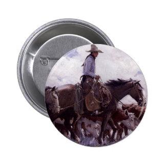 Stray Man Heads Home by Koerner, Vintage Cowboy 6 Cm Round Badge