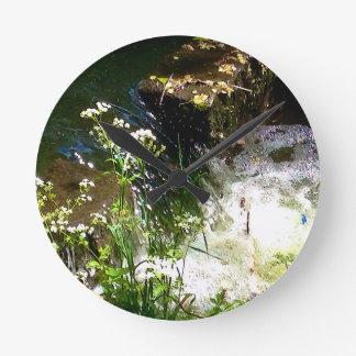 Stream Green Colourful Nature Design Round Clock