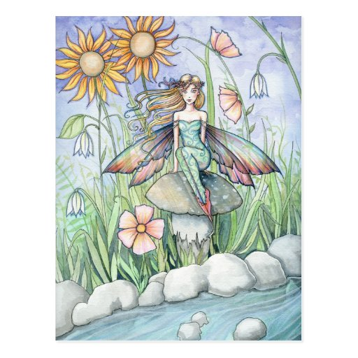Stream of Magic Fairy Postcard by Molly Harrison