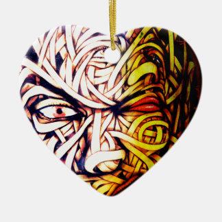 Street Art Face Ceramic Heart Decoration