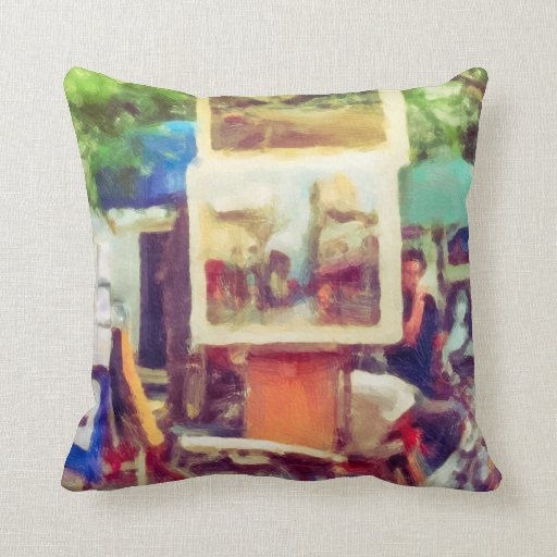 Street Art Fair in Paris Throw Pillows