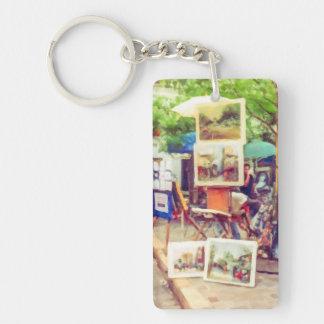 Street Art Fair in Paris Double-Sided Rectangular Acrylic Key Ring