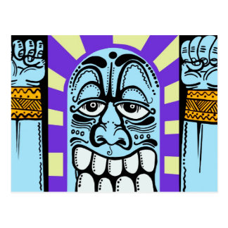 street art graffiti blue funny character happy postcard
