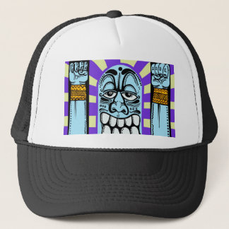 street art graffiti blue funny character happy trucker hat