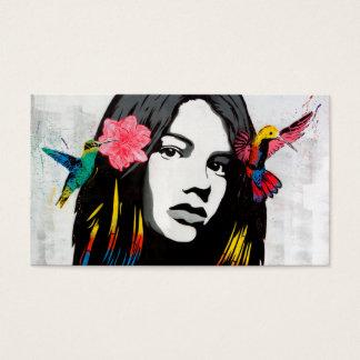 Street Art Graffiti Girl with Birds Business Card