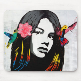 Street Art Graffiti Girl with Birds Mouse Pad