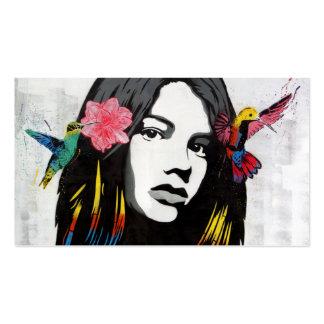 Street Art Graffiti Girl with Birds Pack Of Standard Business Cards