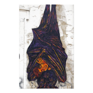 Street art mural flying fox (fruit bat) fantasy stationery design