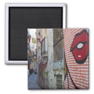 Street art on Calle de la Libertad street Square Magnet