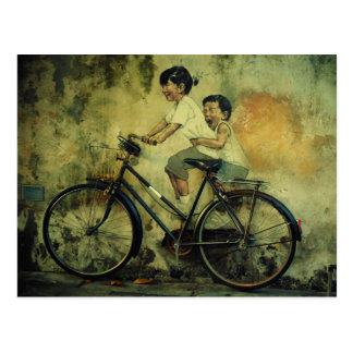 Street Art Postcard / kids on bike / penang