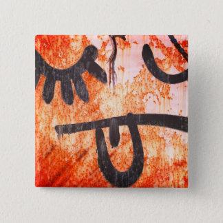 Street Art Yuck Face 15 Cm Square Badge