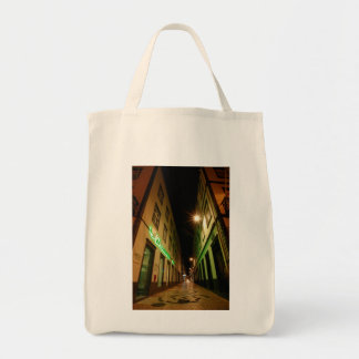 Street at night grocery tote bag